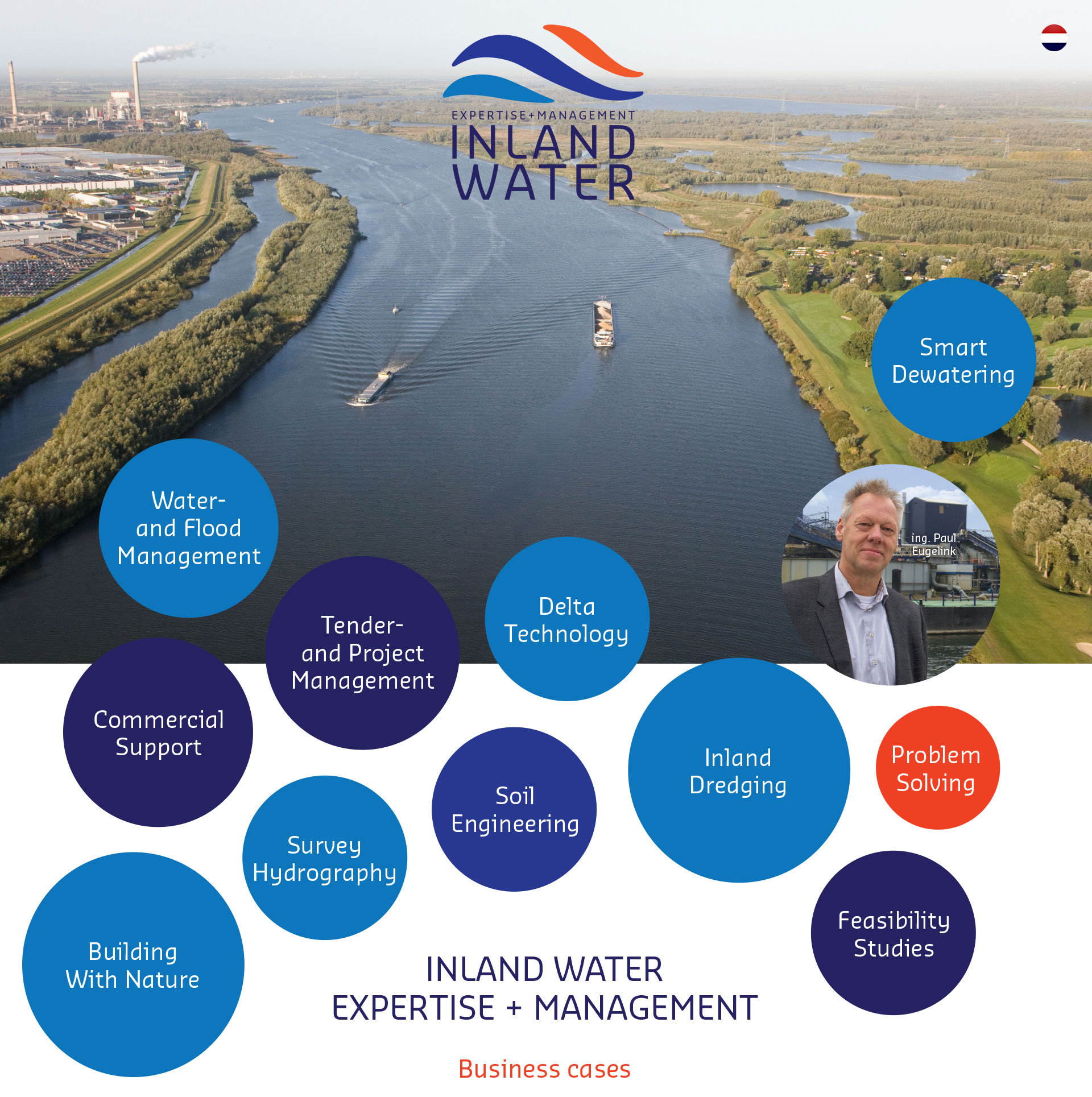 INLAND WATER Expertise + Management. project management , tender management, inland dredging, commercial support, waterboards, river systems, delta technology, feasibility studies ,survey / hydrography, smart dewatering, building with nature